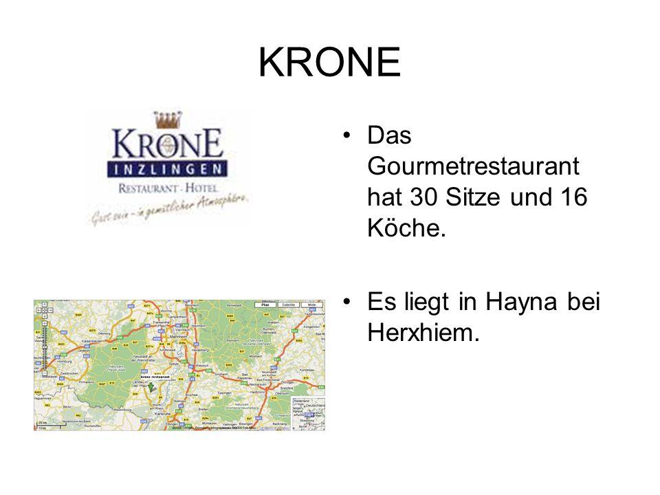 KRONE Das Gourmetrestaurant hat 30 Sitze und 16 Köche. Es liegt in Hayna bei Herxhiem.