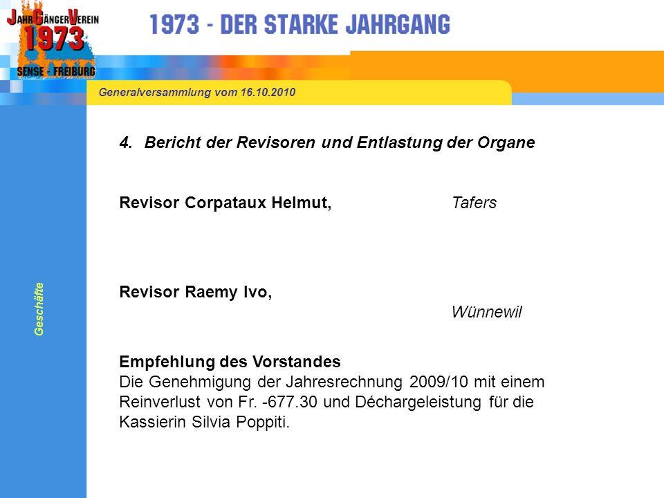 Generalversammlung vom 16.10.2010 3.Jahresrechnung 2009/10 2009/102008/09 MitgliederbeiträgeFr. 2820.00Fr. 3750.00 AufwandFr. 3504.40Fr. 3311.20 Ertra