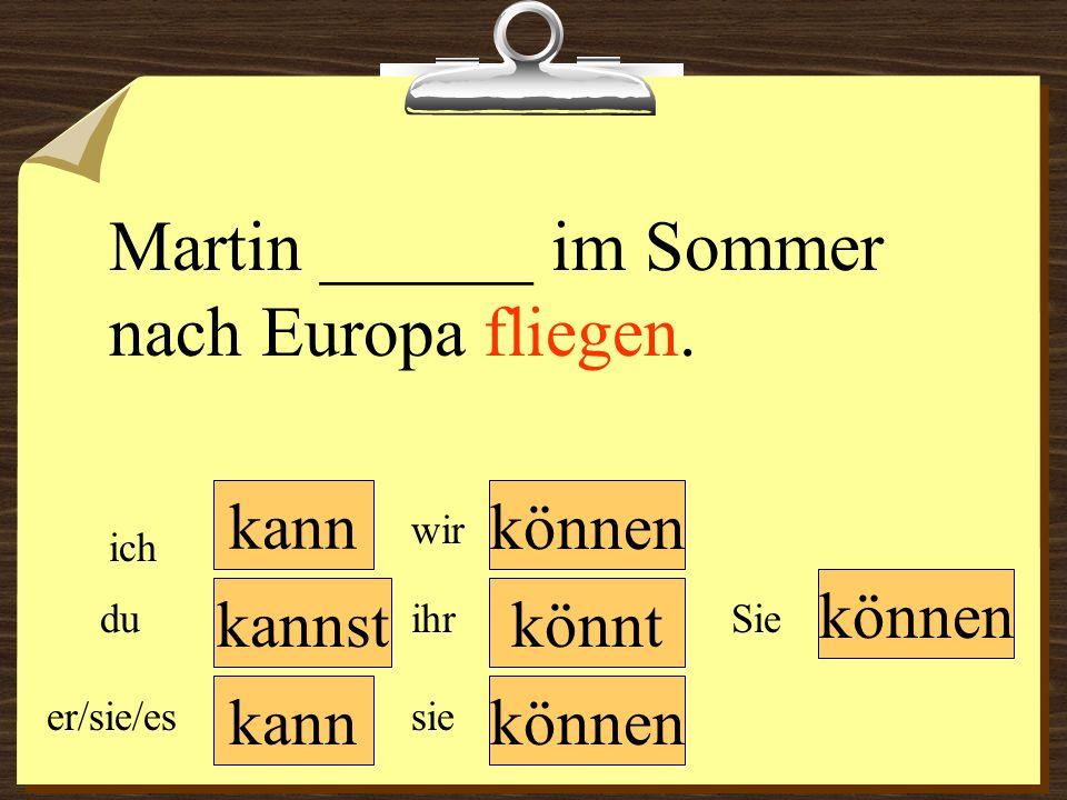 kann können wir du er/sie/es ich ihr sie können Sie Martin ______ im Sommer nach Europa fliegen. könntkannst