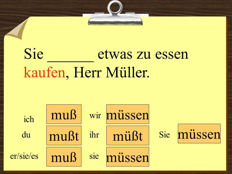 muß müssen wir du er/sie/es ich ihr sie müssen Sie Sie ______ etwas zu essen kaufen, Herr Müller.