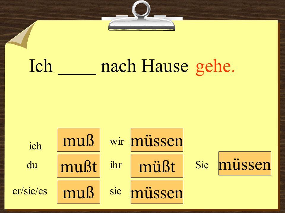muß müssen wir du er/sie/es ich ihr sie müssen Sie Ihr ______ deutsch lernen. mußtmüßt