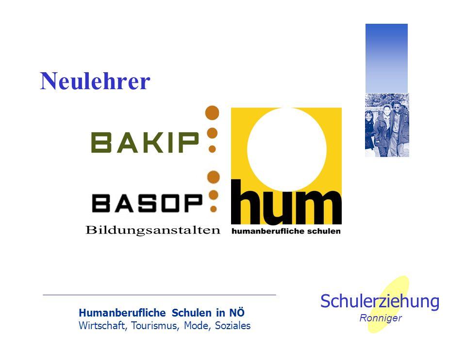 Humanberufliche Schulen in NÖ Wirtschaft, Tourismus, Mode, Soziales Schulerziehung Ronniger Neulehrer