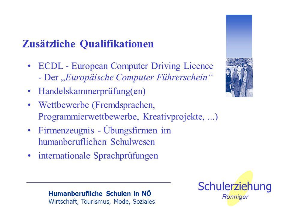 Humanberufliche Schulen in NÖ Wirtschaft, Tourismus, Mode, Soziales Schulerziehung Ronniger Zusätzliche Qualifikationen ECDL - European Computer Drivi