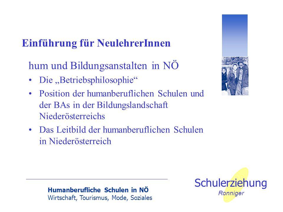 Humanberufliche Schulen in NÖ Wirtschaft, Tourismus, Mode, Soziales Schulerziehung Ronniger Einführung für NeulehrerInnen hum und Bildungsanstalten in