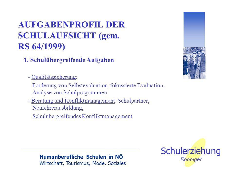 Humanberufliche Schulen in NÖ Wirtschaft, Tourismus, Mode, Soziales Schulerziehung Ronniger AUFGABENPROFIL DER SCHULAUFSICHT (gem. RS 64/1999) 1. Schu