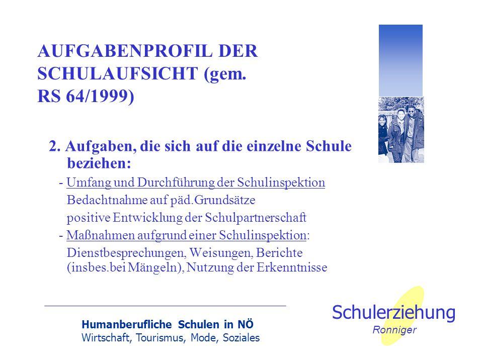 Humanberufliche Schulen in NÖ Wirtschaft, Tourismus, Mode, Soziales Schulerziehung Ronniger AUFGABENPROFIL DER SCHULAUFSICHT (gem. RS 64/1999) 2. Aufg