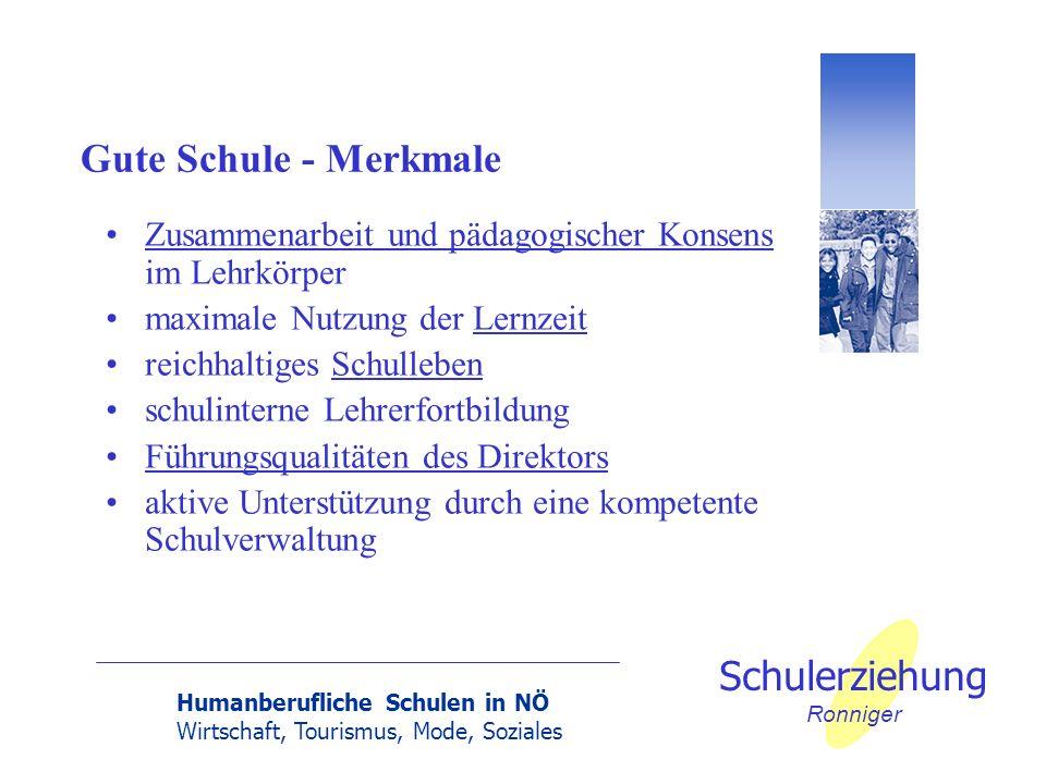 Humanberufliche Schulen in NÖ Wirtschaft, Tourismus, Mode, Soziales Schulerziehung Ronniger Gute Schule - Merkmale Zusammenarbeit und pädagogischer Ko