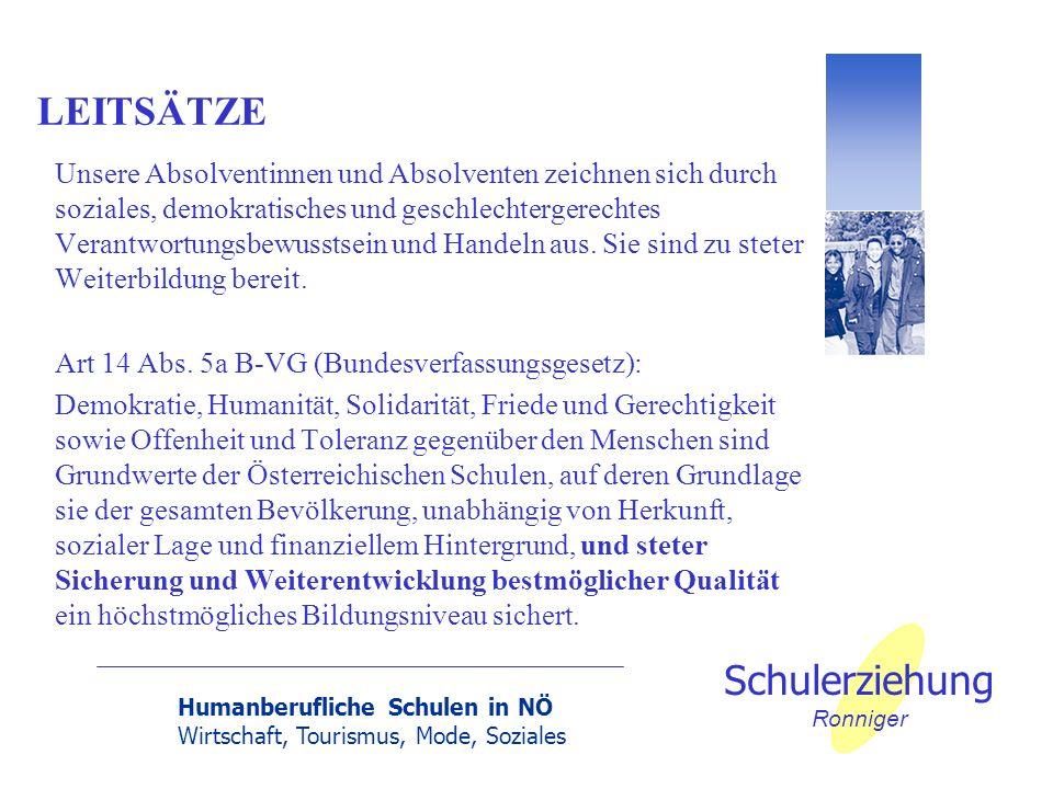 Humanberufliche Schulen in NÖ Wirtschaft, Tourismus, Mode, Soziales Schulerziehung Ronniger Das System Schule - Kräfteverhältnis