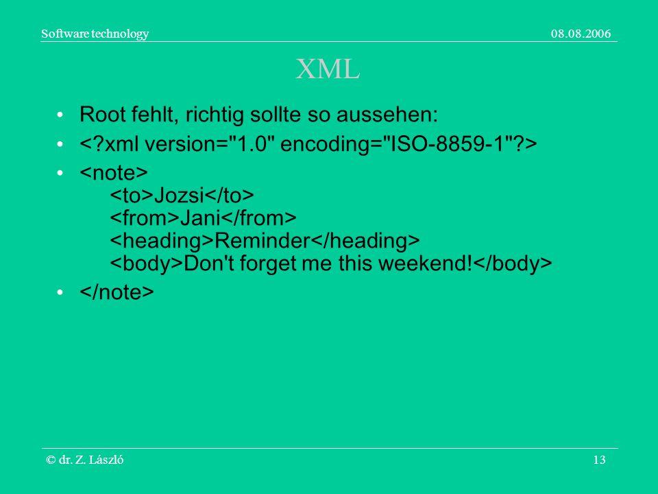 Software technology08.08.2006 © dr. Z. László13 XML Root fehlt, richtig sollte so aussehen: Jozsi Jani Reminder Don't forget me this weekend!