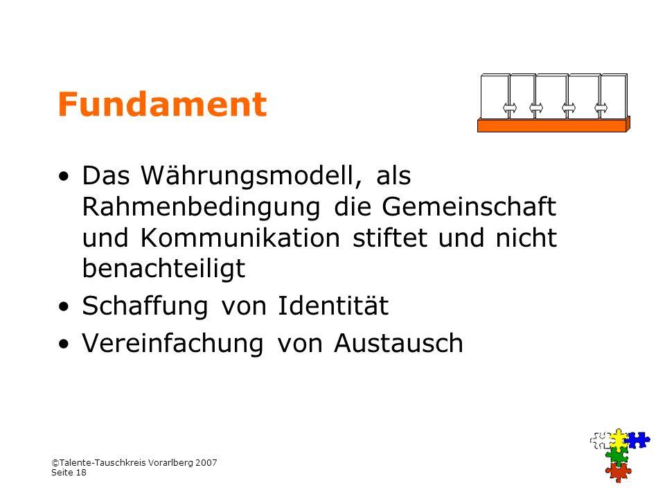 ©Talente-Tauschkreis Vorarlberg 2007 Seite 18 Fundament Das Währungsmodell, als Rahmenbedingung die Gemeinschaft und Kommunikation stiftet und nicht b