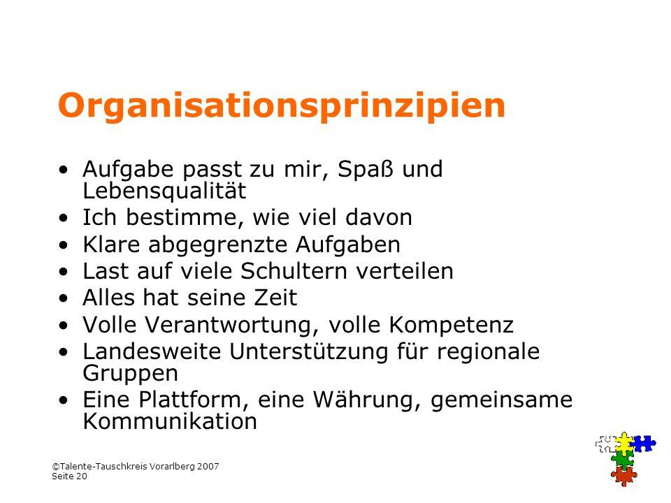 ©Talente-Tauschkreis Vorarlberg 2007 Seite 20 Organisationsprinzipien Aufgabe passt zu mir, Spaß und Lebensqualität Ich bestimme, wie viel davon Klare