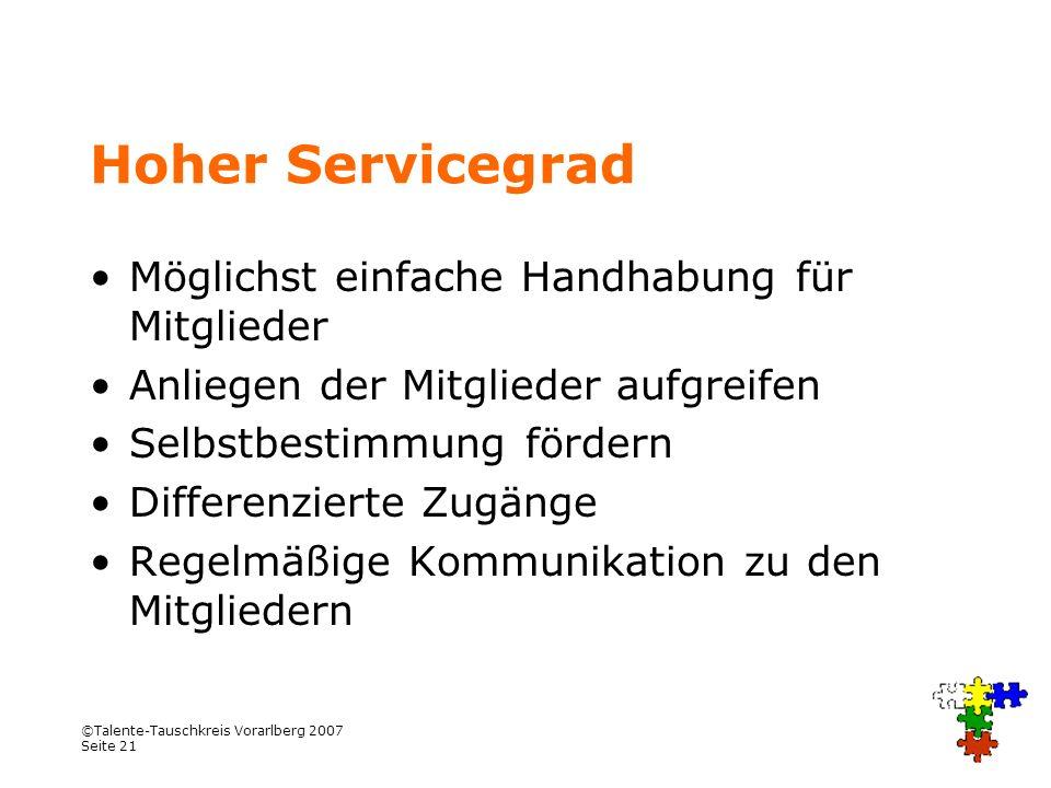©Talente-Tauschkreis Vorarlberg 2007 Seite 21 Hoher Servicegrad Möglichst einfache Handhabung für Mitglieder Anliegen der Mitglieder aufgreifen Selbst