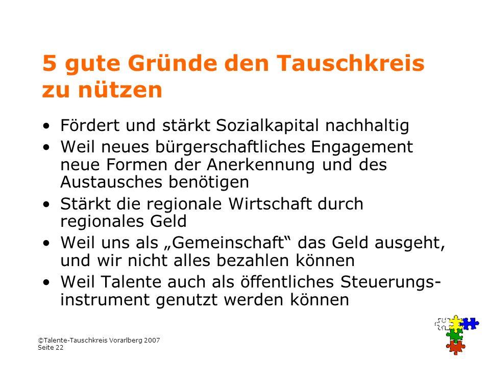 ©Talente-Tauschkreis Vorarlberg 2007 Seite 22 5 gute Gründe den Tauschkreis zu nützen Fördert und stärkt Sozialkapital nachhaltig Weil neues bürgersch