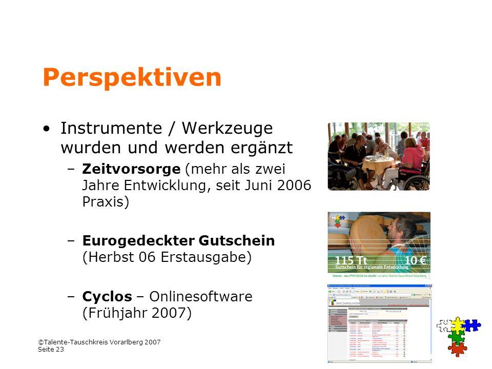 ©Talente-Tauschkreis Vorarlberg 2007 Seite 23 Perspektiven Instrumente / Werkzeuge wurden und werden ergänzt –Zeitvorsorge (mehr als zwei Jahre Entwic
