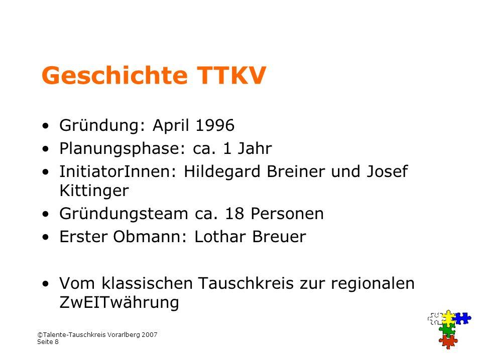 ©Talente-Tauschkreis Vorarlberg 2007 Seite 8 Geschichte TTKV Gründung: April 1996 Planungsphase: ca. 1 Jahr InitiatorInnen: Hildegard Breiner und Jose