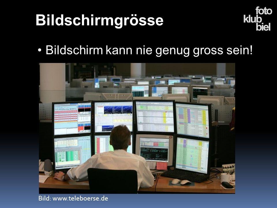 Bildschirmgrösse Bildschirm kann nie genug gross sein! Bild: www.teleboerse.de