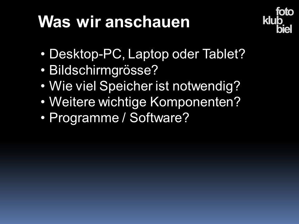 Was wir anschauen Desktop-PC, Laptop oder Tablet? Bildschirmgrösse? Wie viel Speicher ist notwendig? Weitere wichtige Komponenten? Programme / Softwar