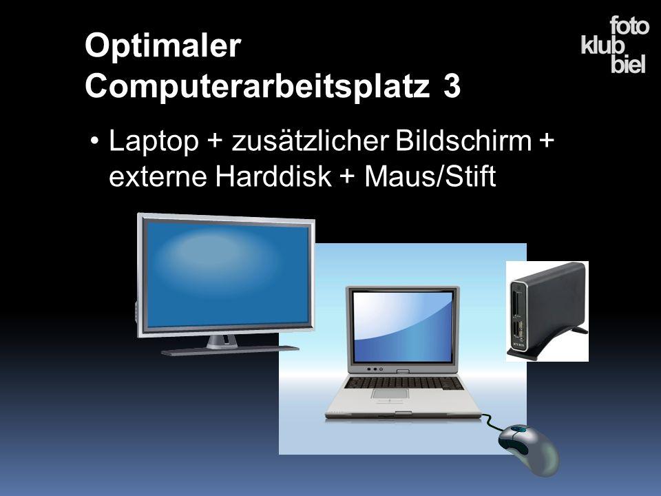Laptop + zusätzlicher Bildschirm + externe Harddisk + Maus/Stift Optimaler Computerarbeitsplatz 3