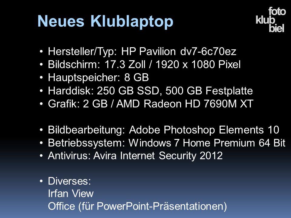 Neues Klublaptop Hersteller/Typ: HP Pavilion dv7-6c70ez Bildschirm: 17.3 Zoll / 1920 x 1080 Pixel Hauptspeicher: 8 GB Harddisk: 250 GB SSD, 500 GB Fes