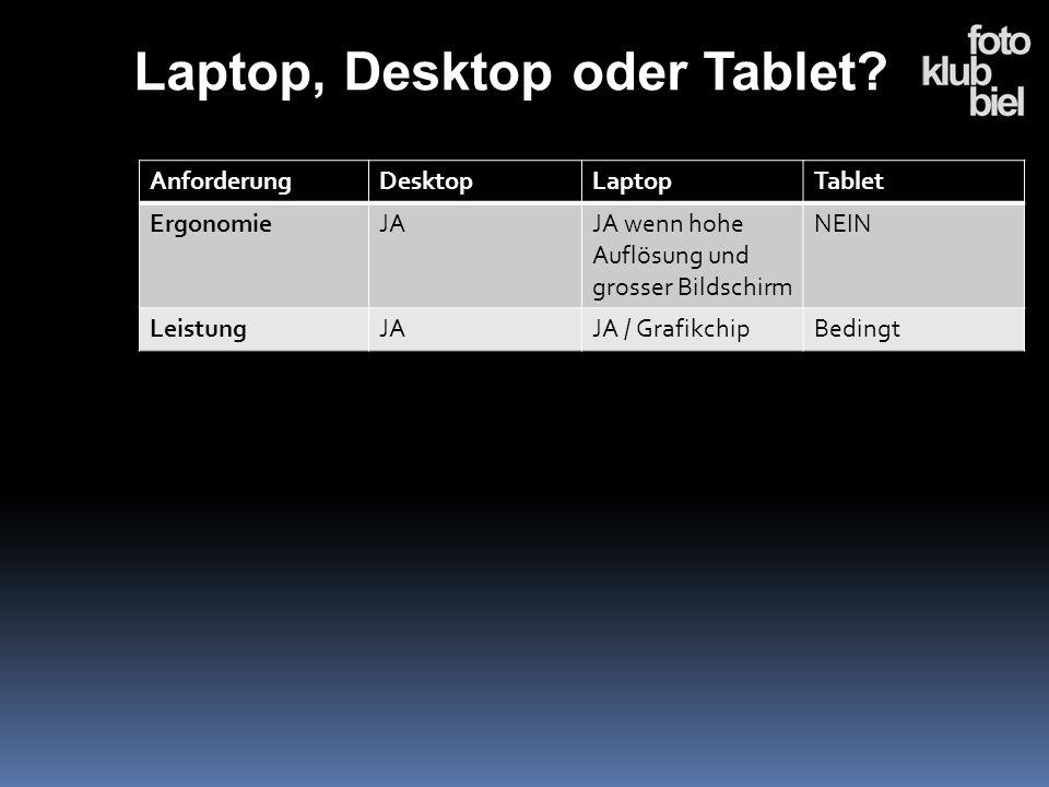 AnforderungDesktopLaptopTablet ErgonomieJAJA wenn hohe Auflösung und grosser Bildschirm NEIN LeistungJAJA / GrafikchipBedingt Laptop, Desktop oder Tab