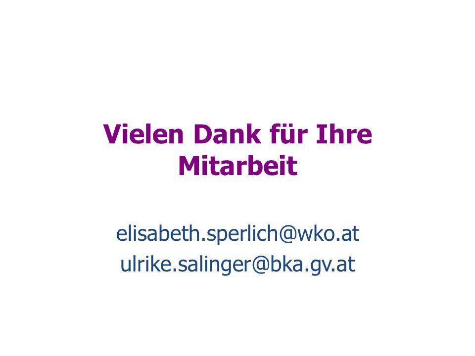 Vielen Dank für Ihre Mitarbeit elisabeth.sperlich@wko.at ulrike.salinger@bka.gv.at