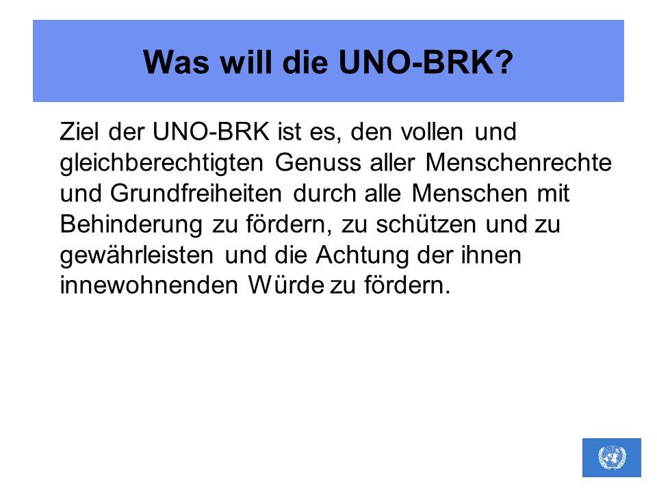 Was will die UNO-BRK? Ziel der UNO-BRK ist es, den vollen und gleichberechtigten Genuss aller Menschenrechte und Grundfreiheiten durch alle Menschen m