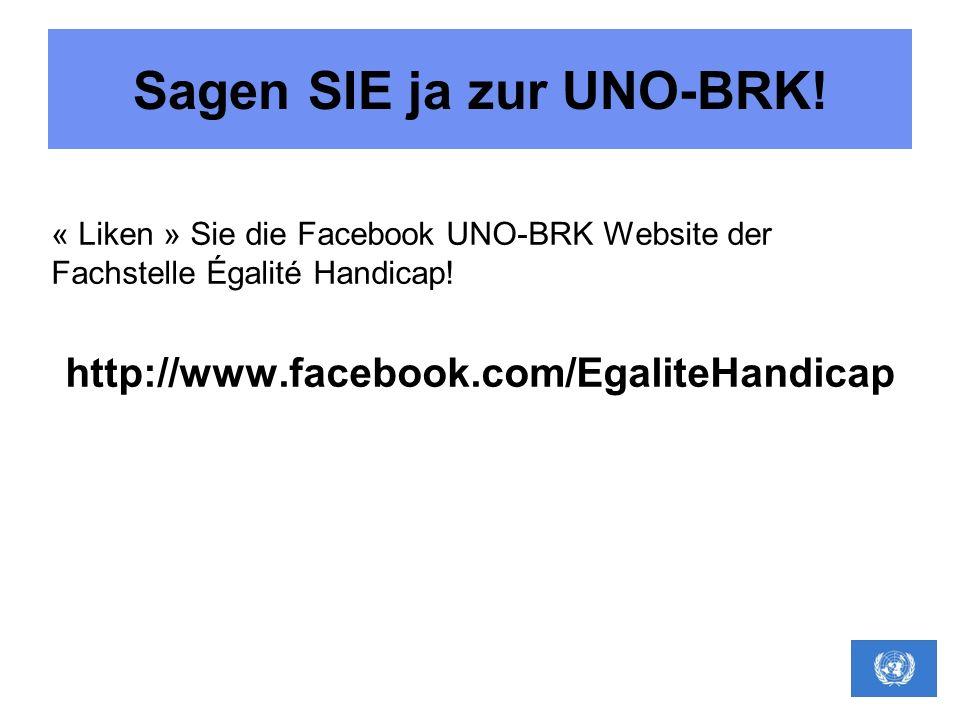 Sagen SIE ja zur UNO-BRK! « Liken » Sie die Facebook UNO-BRK Website der Fachstelle Égalité Handicap! http://www.facebook.com/EgaliteHandicap