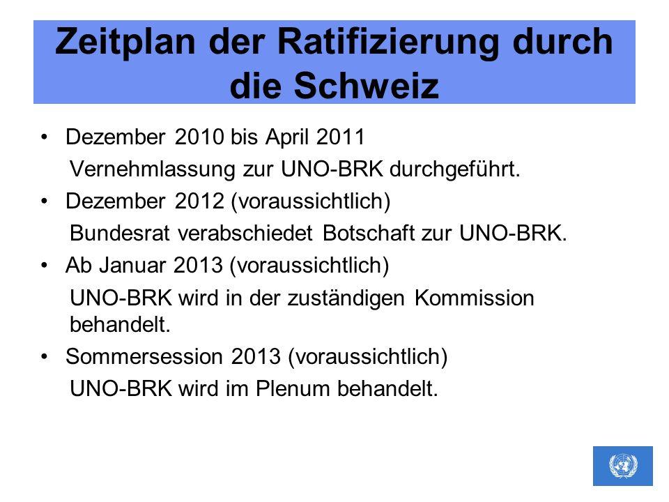Zeitplan der Ratifizierung durch die Schweiz Dezember 2010 bis April 2011 Vernehmlassung zur UNO-BRK durchgeführt. Dezember 2012 (voraussichtlich) Bun