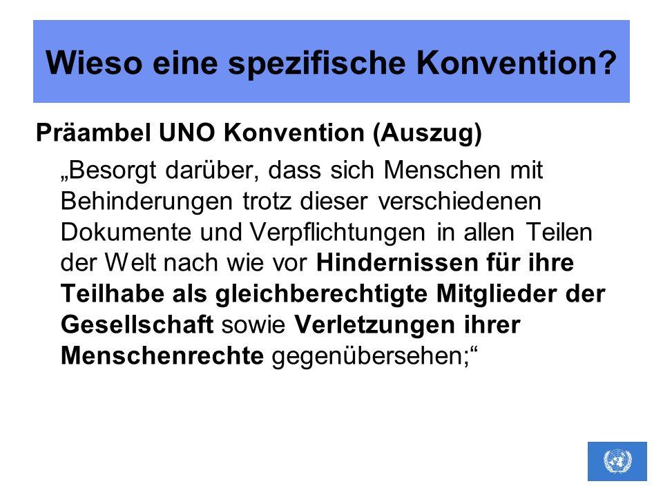 Wieso eine spezifische Konvention? Präambel UNO Konvention (Auszug) Besorgt darüber, dass sich Menschen mit Behinderungen trotz dieser verschiedenen D