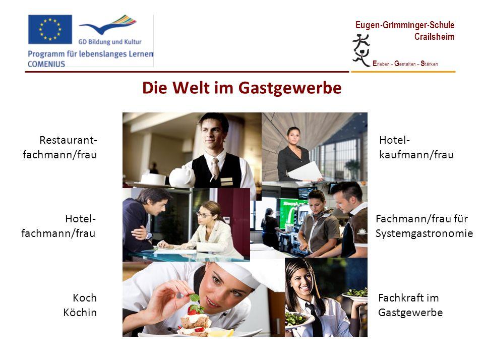 E rleben – G estalten – S tärken Eugen-Grimminger-Schule Crailsheim Die Welt im Gastgewerbe Restaurant- fachmann/frau Hotel- fachmann/frau Koch Köchin