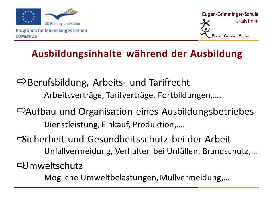 E rleben – G estalten – S tärken Eugen-Grimminger-Schule Crailsheim Ausbildungsinhalte während der Ausbildung Berufsbildung, Arbeits- und Tarifrecht A