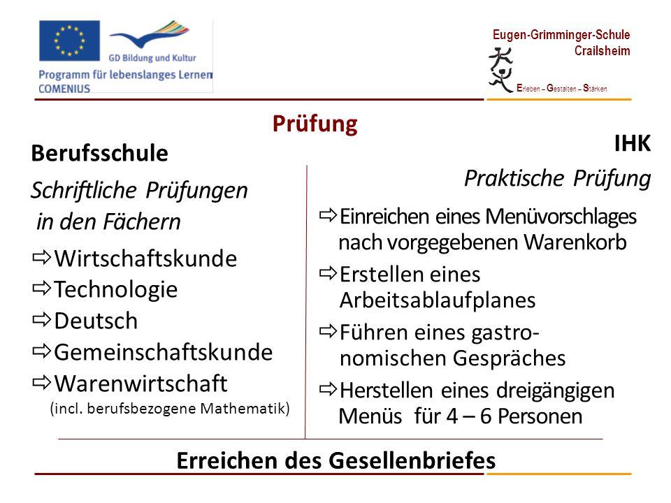 E rleben – G estalten – S tärken Eugen-Grimminger-Schule Crailsheim Prüfung Berufsschule Schriftliche Prüfungen in den Fächern Wirtschaftskunde Techno