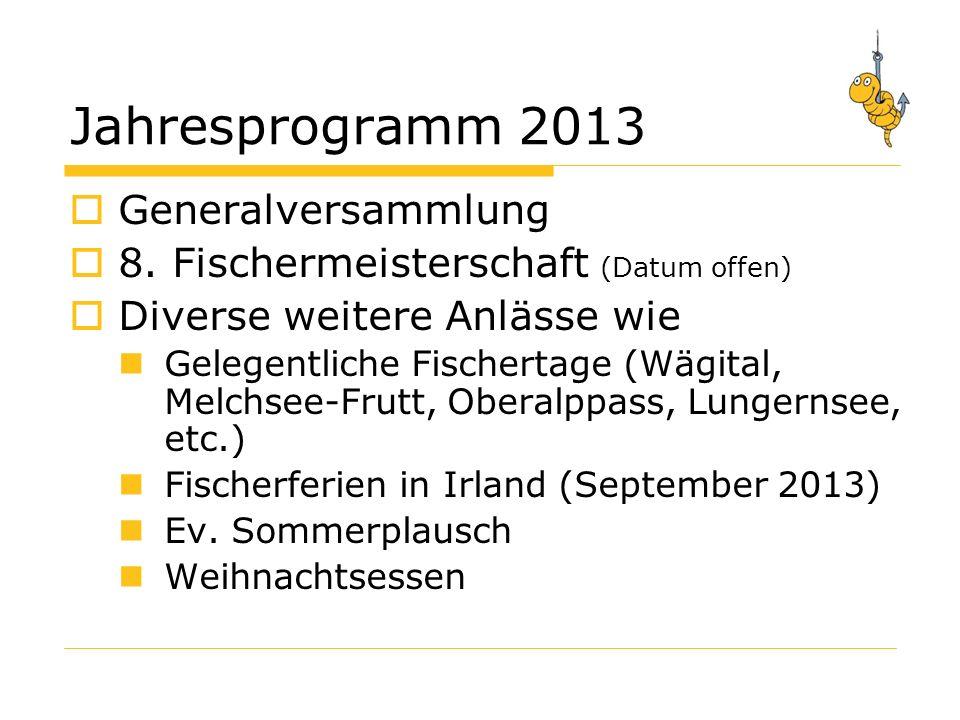 Jahresprogramm 2013 Generalversammlung 8.