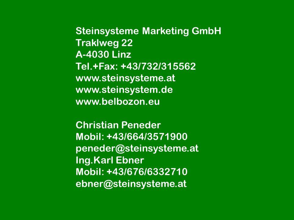 Steinsysteme Marketing GmbH Traklweg 22 A-4030 Linz Tel.+Fax: +43/732/315562 www.steinsysteme.at www.steinsystem.de www.belbozon.eu Christian Peneder