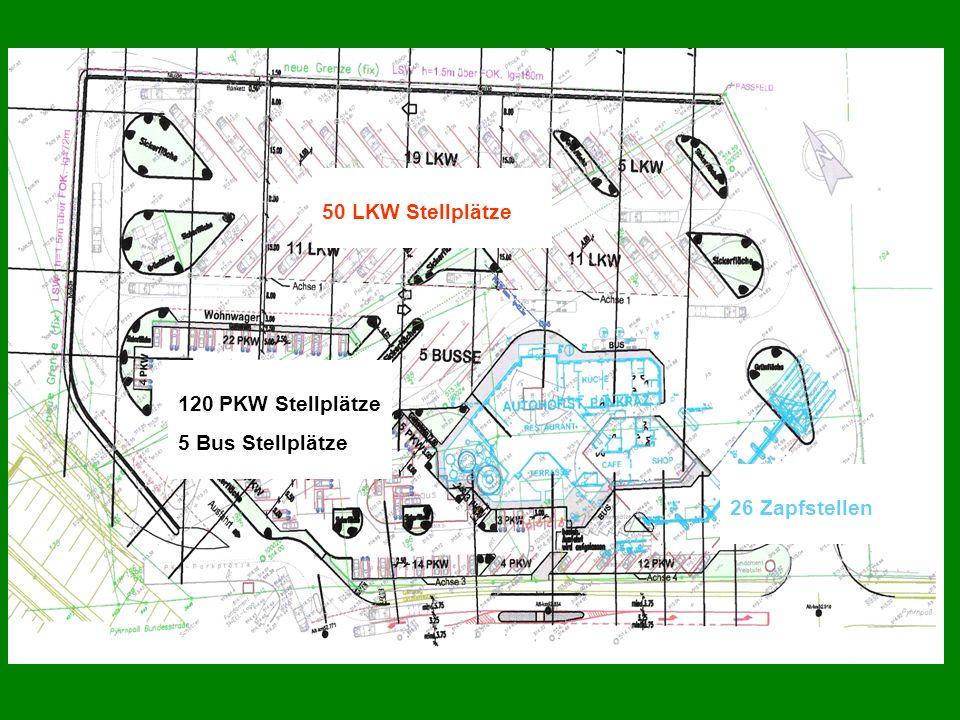 50 LKW Stellplätze 26 Zapfstellen 120 PKW Stellplätze 5 Bus Stellplätze
