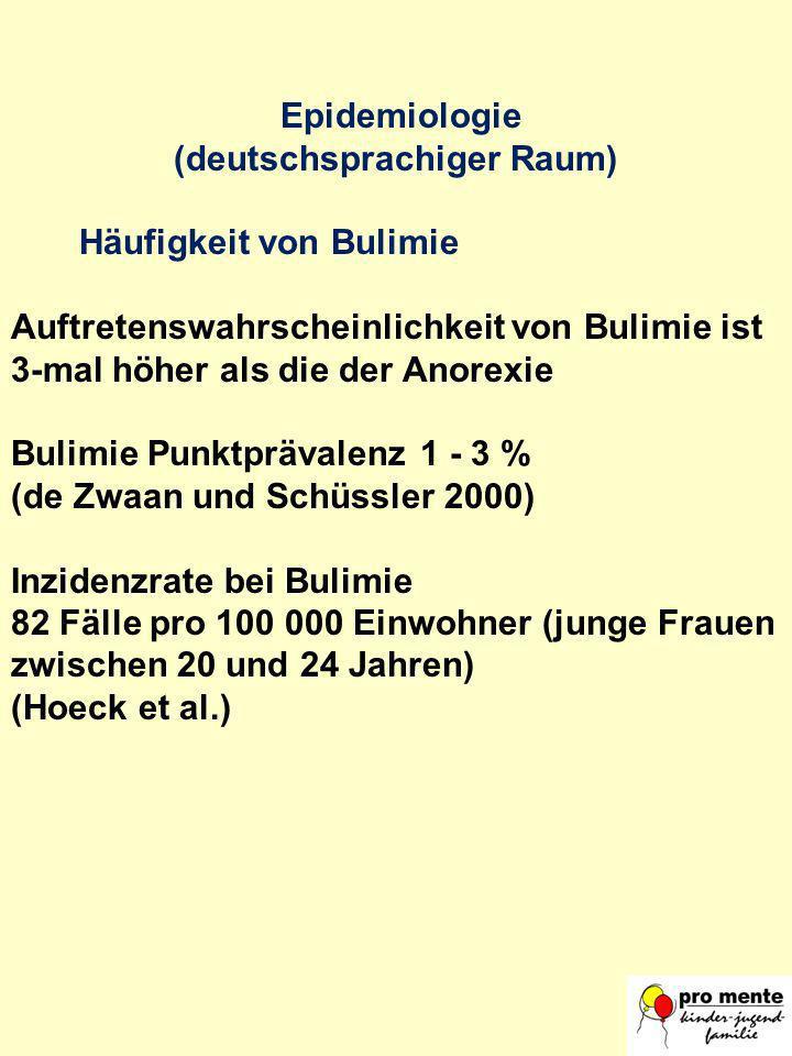 Epidemiologie (deutschsprachiger Raum) Häufigkeit von Bulimie Auftretenswahrscheinlichkeit von Bulimie ist 3-mal höher als die der Anorexie BulimiePun