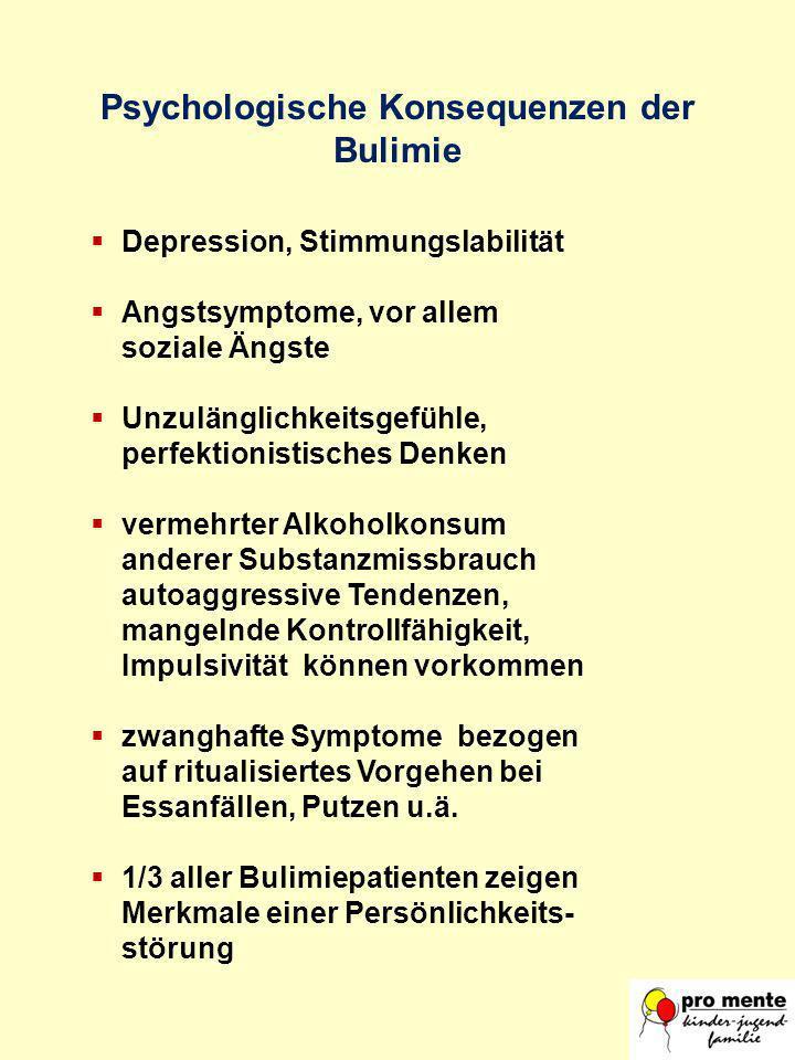 Psychologische Konsequenzen der Bulimie Depression, Stimmungslabilität Angstsymptome, vor allem soziale Ängste Unzulänglichkeitsgefühle, perfektionist