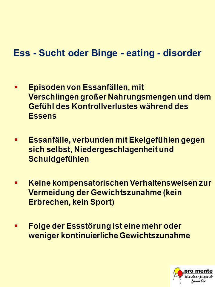 Ess - Sucht oder Binge - eating - disorder Episoden von Essanfällen, mit Verschlingen großer Nahrungsmengen und dem Gefühl des Kontrollverlustes währe