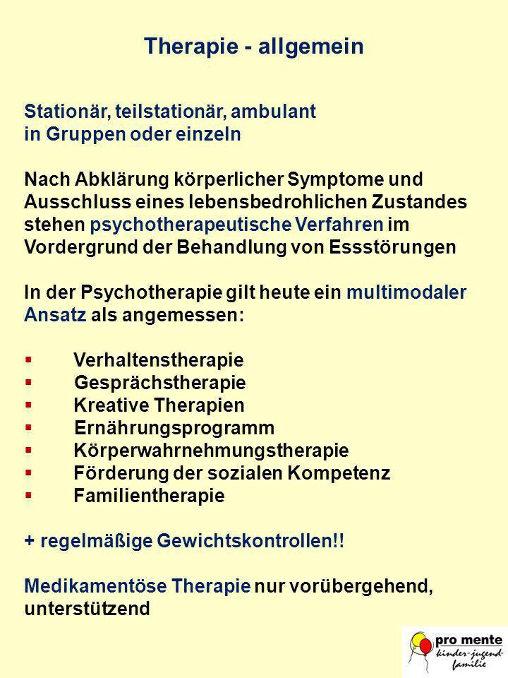 Therapie - allgemein Stationär, teilstationär, ambulant in Gruppen oder einzeln Nach Abklärung körperlicher Symptome und Ausschluss eines lebensbedroh
