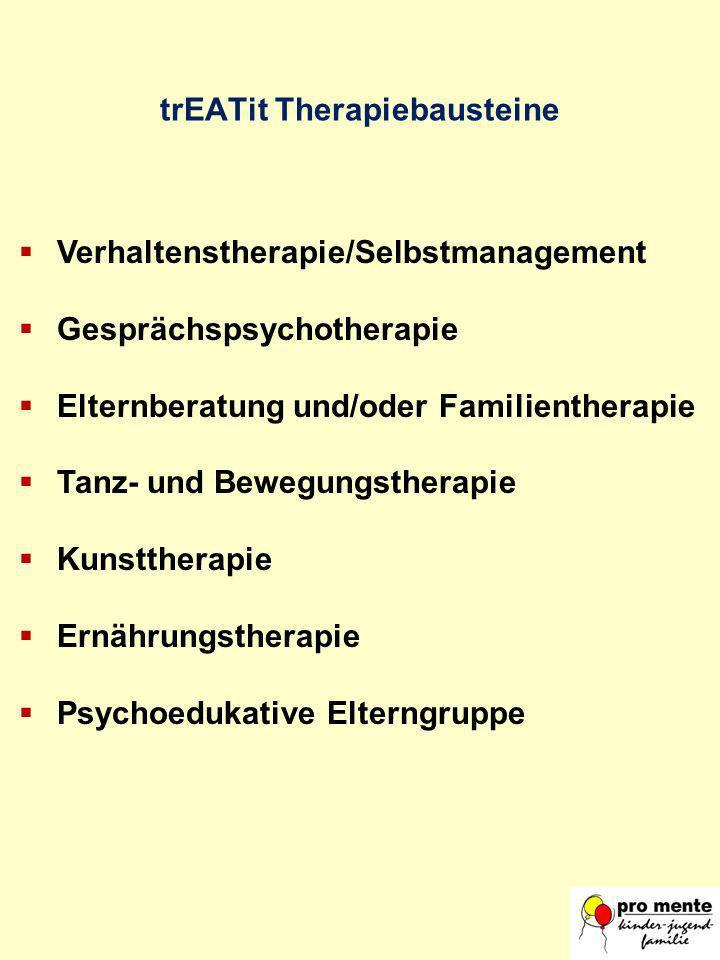 Verhaltenstherapie/Selbstmanagement Gesprächspsychotherapie Elternberatung und/oder Familientherapie Tanz- und Bewegungstherapie Kunsttherapie Ernähru