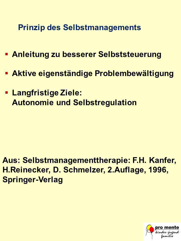 Anleitung zu besserer Selbststeuerung Aktive eigenständige Problembewältigung Langfristige Ziele: Autonomie und Selbstregulation Aus: Selbstmanagement