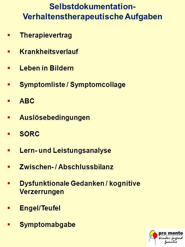 Selbstdokumentation- Verhaltenstherapeutische Aufgaben Therapievertrag Krankheitsverlauf Leben in Bildern Symptomliste / Symptomcollage ABC Auslösebed