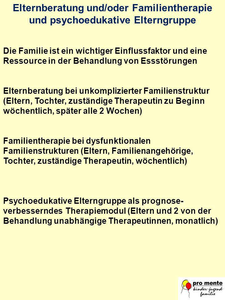 Elternberatung und/oder Familientherapie und psychoedukative Elterngruppe Die Familie ist ein wichtiger Einflussfaktor und eine Ressource in der Behan
