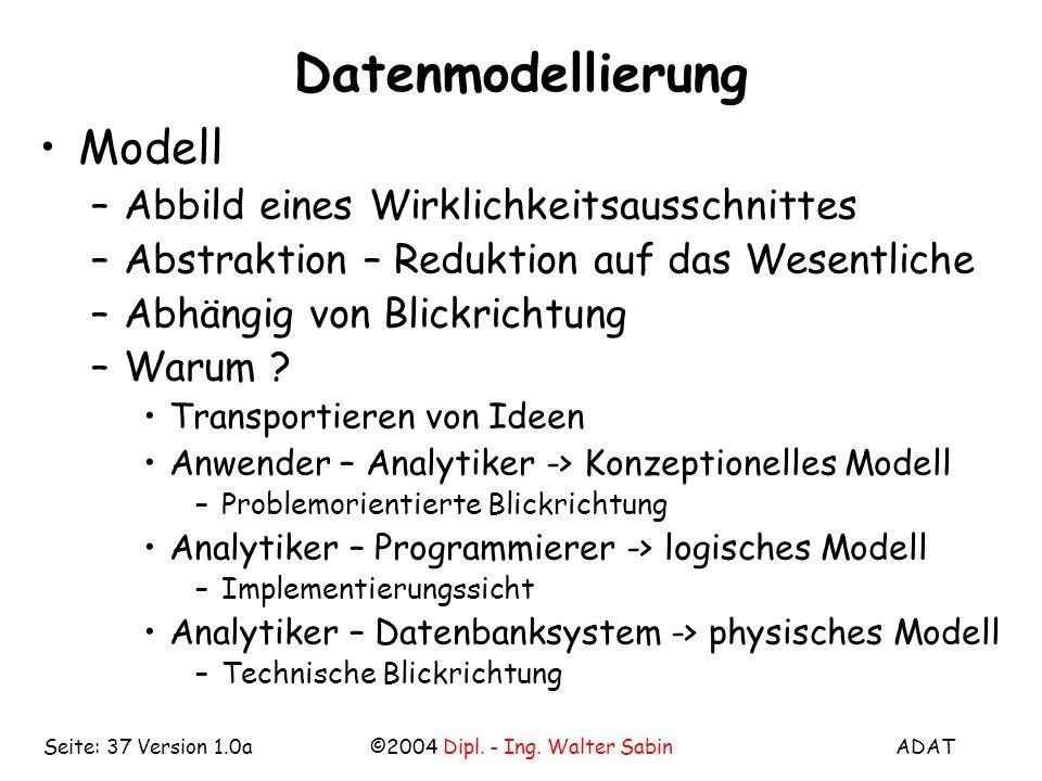 ADAT©2004 Dipl. - Ing. Walter SabinSeite: 37 Version 1.0a Datenmodellierung Modell –Abbild eines Wirklichkeitsausschnittes –Abstraktion – Reduktion au