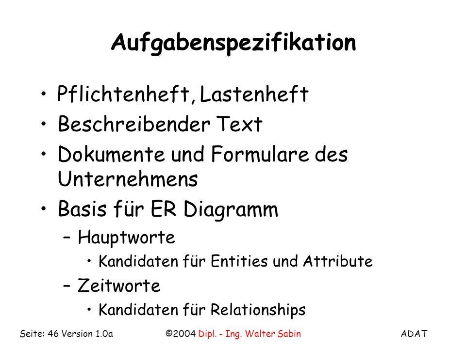 ADAT©2004 Dipl. - Ing. Walter SabinSeite: 46 Version 1.0a Aufgabenspezifikation Pflichtenheft, Lastenheft Beschreibender Text Dokumente und Formulare
