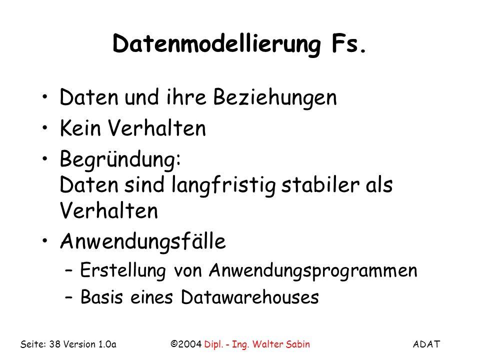 ADAT©2004 Dipl. - Ing. Walter SabinSeite: 38 Version 1.0a Datenmodellierung Fs. Daten und ihre Beziehungen Kein Verhalten Begründung: Daten sind langf