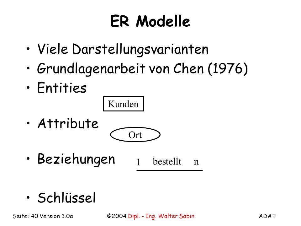 ADAT©2004 Dipl. - Ing. Walter SabinSeite: 40 Version 1.0a ER Modelle Viele Darstellungsvarianten Grundlagenarbeit von Chen (1976) Entities Attribute B