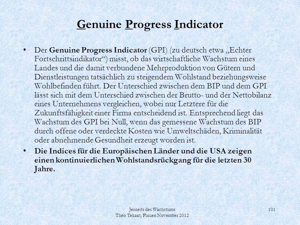 Jenseits des Wachstums Theo Tekaat; Plauen November 2012 101 Genuine Progress Indicator Der Genuine Progress Indicator (GPI) (zu deutsch etwa Echter F