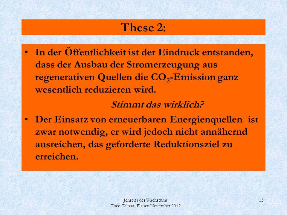 Jenseits des Wachstums Theo Tekaat; Plauen November 2012 15 These 2: In der Öffentlichkeit ist der Eindruck entstanden, dass der Ausbau der Stromerzeu