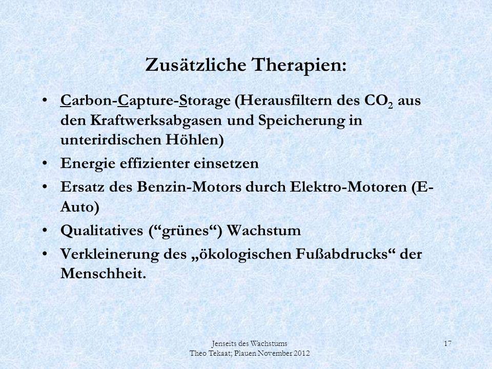 Jenseits des Wachstums Theo Tekaat; Plauen November 2012 17 Zusätzliche Therapien: Carbon-Capture-Storage (Herausfiltern des CO 2 aus den Kraftwerksab
